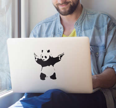 "Decorate your laptop with the iconic stencil design by famous street artist, Banksy. This monochrome laptop sticker shows a panda wielding two pistols, based on the phrase ""a panda eats, shoots and leaves""."