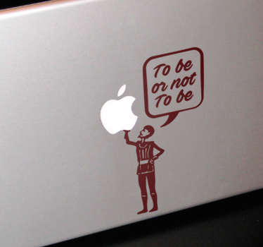 "Mac laptop sticker med det berømte Shakespeare citat ""To be or not to be"". Klistermærket passer perfekt på bagsiden af din laptop."