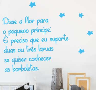 Autocolante texto flor pequeno principe