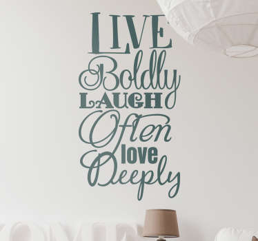 Live Laugh Love Text Sticker. A beautiful decorative text sticker fits to any room in your home. Brings a warm touch to your home.