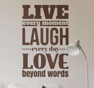 If you're looking for the perfect inspirational decorative wall sticker for your family home, look no further than this Live Laugh wall sticker!