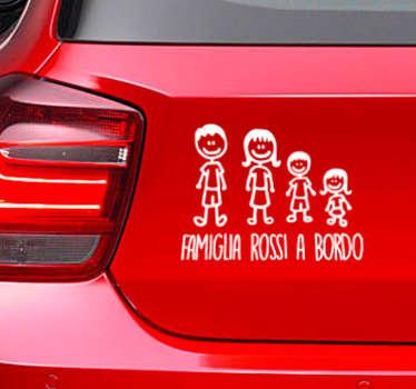 Dicci il cognome che vuoi mettere in questo adesivo per auto nel campo corrispondente della scheda dello sticker.