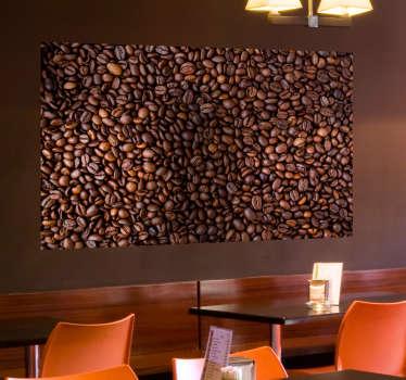 Muursticker koffiebonen plaatje