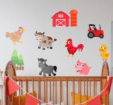 Decorative cartoon farm animals wall sticker to decorate any space of choice and it is a nice idea for children bedroom space.