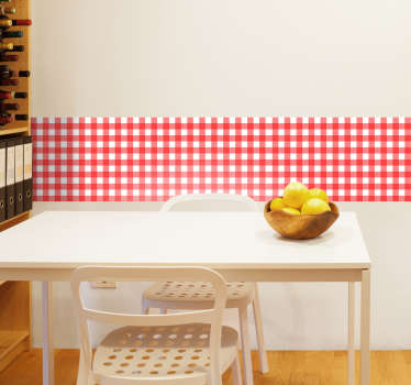 Cuisine wall sticker with a red and white tablecloth. This is an ideal choice if you want to give a rural and traditional atmosphere to your kitchen!