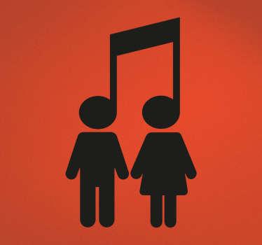 Originele iconenstickers voor muziekliefhebbers met de iconografische voorstelling van een man en een vrouw verenigd door hun passie voor muziek.