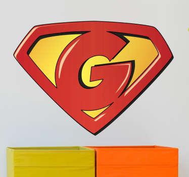 Pegatinas de superhéroes para tus hijos con la representación de su letra inicial G dentro de un escudo.