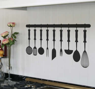 Kitchen Stickers - Illustration of cooking utensils hanging in the kitchen. This silhouette wall sticker is available in many different colours and sizes so you can personalise your kitchen decor the way you want!