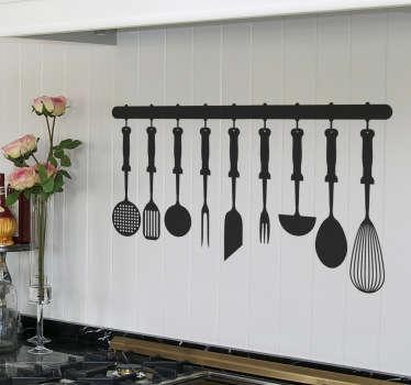 Autocolante decorativo utensílios cozinha