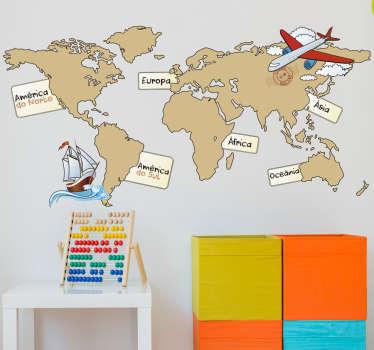 Viajar, explorar, voar, navegar. Vinil decorativo infantil de um atlas marcando os sete continentes que compõem o planeta terra.