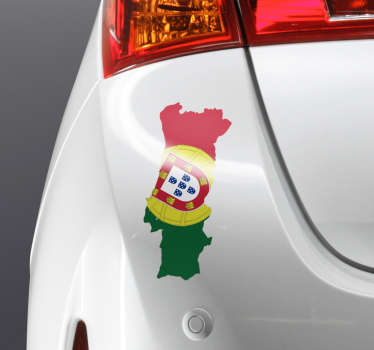 Car vinyl decal with the design of a Portuguese flag and map. It is self adhesive and easy to apply. We have it in any required size.