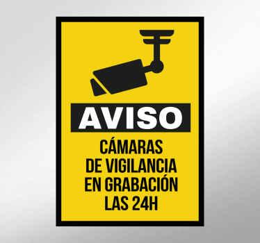 Adhesivos de señalización para indicar que en el portal de tu casa, tu empresa o tienda hay cámaras de videovigilancia pendientes todo el día.