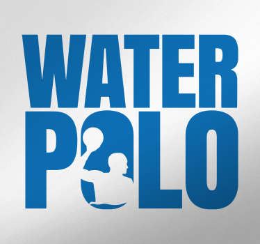 Wall sticker with the image of a water polo player with the text 'water polo'.
