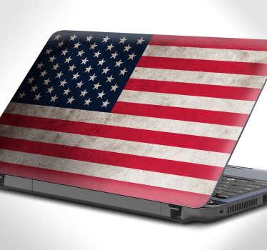 Vinilos para personalizar tu portátil con la bandera de Estados Unidos de América con un estilo vintage y desgastado.