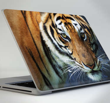 Laptop sticker with a striking image of a big fearless tiger to personalize your personal computer. Easy to apply without air bubles.