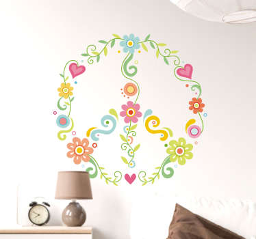 Floral decal with the peace symbol made up of different plant elements for peaceful, anti-war people who want to decorate the walls of their home.