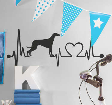 Animal wall sticker for people who like greyhounds with a very special design that represents a greyhound formed by the lines of an electrocardiogram.