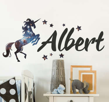Personalised unicorn wall sticker with cosmos space decor surrounded by stars, from our collection of fairy tale stickers.