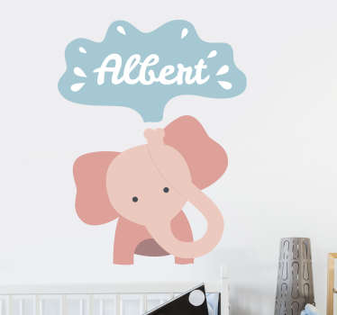 Decorate your child's room in a fun and original way with this animal sticker of an elephant. You can see a customized name coming out of its trunk!