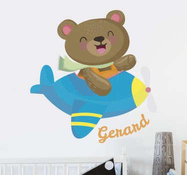 Adesivi per bambini e bambine con un divertente disegno di un orso di peluche in un aeroplano.