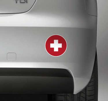 Autoaufkleber Schweizer Flagge rund