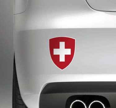 Un sticker pour voiture représentant le drapeau Suisse au sein d'un écu, devenu le blason Suisse. Un sticker de qualité qui vous suivra pendant des années tout au long de vos trajets!