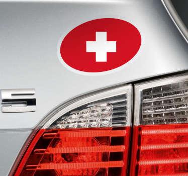 Sticker voiture drapeau Suisse ovale