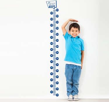 Sticker d'un mètre au design original parfait pour mesurer votre enfant et suivre centimètre par centimètre sa taille de manière ludique et amusante.