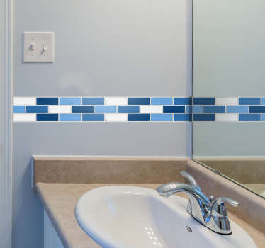 Blue tiles border for adding a stylish touch to your bathroom or kitchen. Nothing brings a room together like a simple tile border, use this blueish vinyl sticker put that finishing touch to your home decor in a way that looks sleek and high quality.