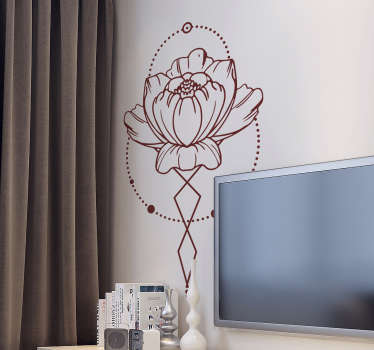 Floral ornamental sticker with the drawing of a rose framed with geometric elements that give a modern look to the design.