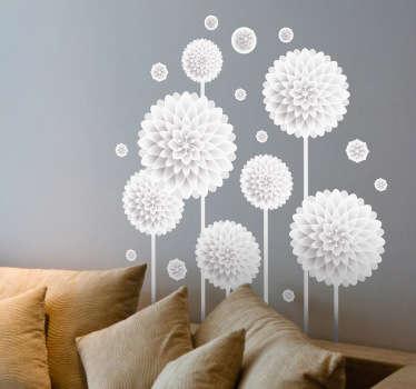 Vinilo pared salón flores de papel