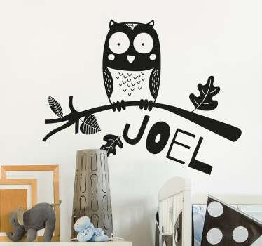 adesivo murale infantile personalizzabile gufo