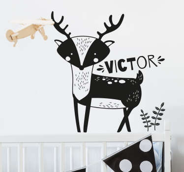Personalize your child's name on this high quality wild animal wall sticker with a deer, and decorate his/her room in a unique way.