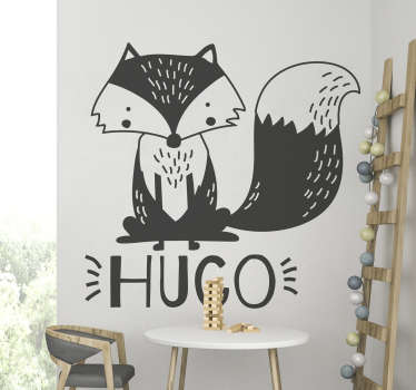 Personalize your child's name on this high-quality decorative animal vinyl of a fox, and decorate his room in a unique way.