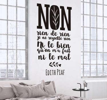Sticker paroles musique Edith Piaf