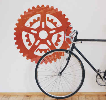 Sports wall sticker for cycling fans with the profile of a bicycle sprocket in red tones. Easy to apply. +10,000 satisfied customers.