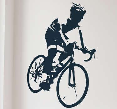 Naklejka winylowa cyklista rower górski
