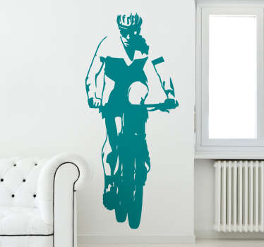 Sticker cycliste Mountain Bike en route
