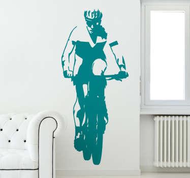 Vinilo ciclista mountain bike en ruta