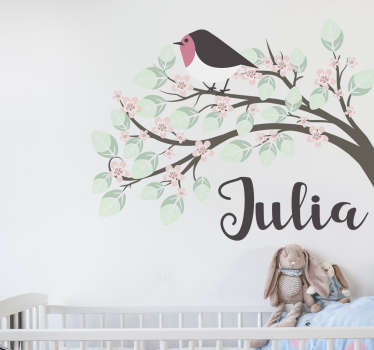 Kids Personalised Name Stickers - Pretty tree and robin decal with a name underneath to go in your child´s bedroom.