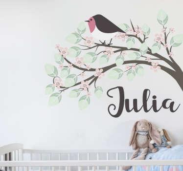 儿童个性树和知更鸟贴纸