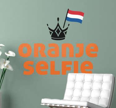 Muursticker Oranje Selfie