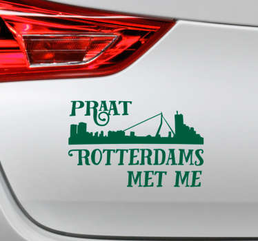 Car vinyl decal with the design text '' Talk Rotterdam to me'' It is featured with Rotterdam city silhouette and the colour is customisable.