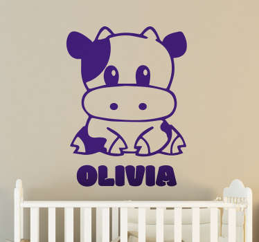 Customize our cute farm animal baby wall sticker with any name to decorate the bedroom of your child. It is available in any size required.