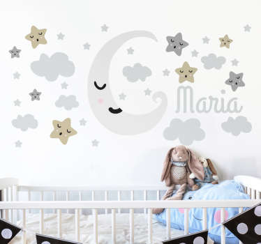 Custom Wall Stickers - Personalise your child's nursery with this gorgeous decal showing their name surrounded by a sleeping moon and stars.