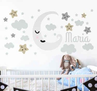 Personlig måne och stjärnor vägg klistermärke