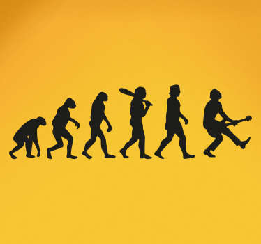 Rock and Roll Wall Stickers -  Creative music sticker that shows our evolution from monkeys to rock stars!