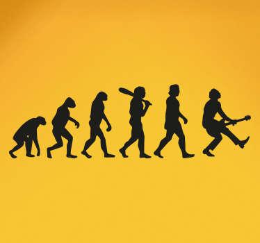 Sticker évolution humaine rock