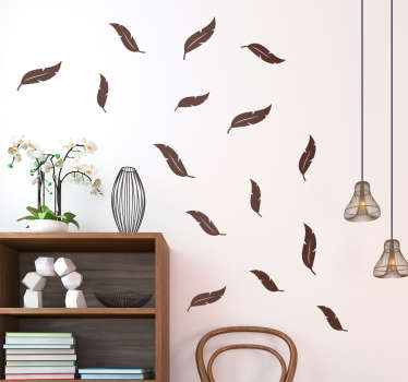 Get a very special animal wall sticker with a selection of different feathers, you can choose the color that best matches your surface.