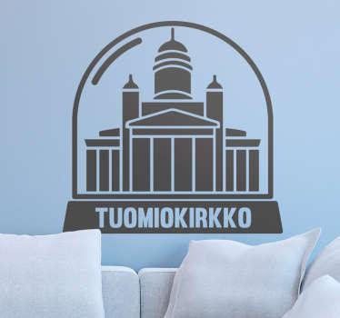 Seinätarra Helsingin tunnetuimmasta nähtävyydestä Tuomiokirkosta. Tyylikäs seinätarra, joka sopii koristamaan kodin seiniä.